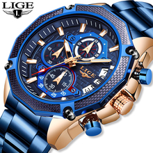 2019 New LIGE Mens Watches Top Brand Luxury With Stainless Steel Date Watch Men Quartz Chronograph Male Waterproof Sport Clock цена и фото