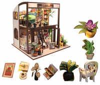 Criança casa de boneca kit miniaturas café casa de madeira brinquedo diy casa de bonecas em miniatura móveis casas en miniatura