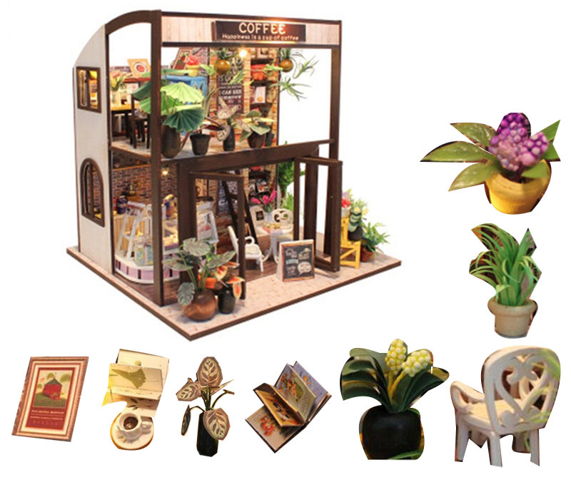 child doll house kit miniatures coffee wooden house toy  diy miniature dollhouse furnitures casas en miniatura