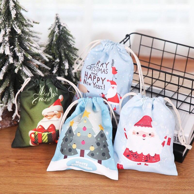 Christmas Drawstring Canvas Shopping Bag Reusable Shopping Bag New Year Gifts Santa Claus Sack Fresh Bag Shoes Folding Candy Bag