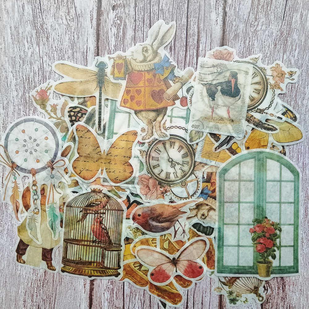 60Pcs Retro Bella Farfalla di Colore Pappagallo Francobolli Vecchio Orologio Gabbia Mouse Sveglio Sticker FAI DA TE Scrapbooking Diario Etichetta Album Escolar