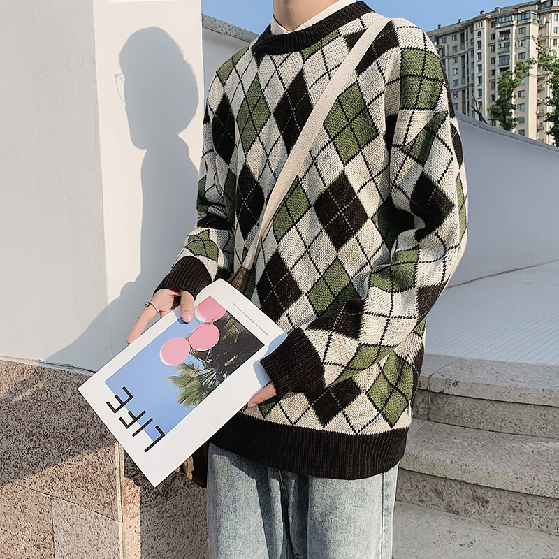 Winter Plaid Sweater Men's Warm Fashion Contrast Casual Knit Pullover Man Sweter Clothes Loose Long Sleeve Sweater Men M-2XL