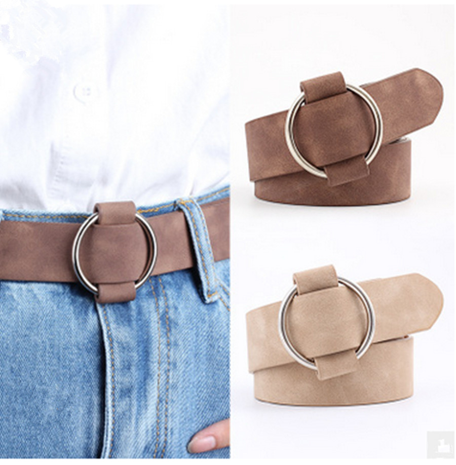 Women Needle-Free Round Buckle Belt Casual Ladies Youth Fashion Wide Belt Pinless Round Buckle Casual Ladies Belt Ceinture Femme