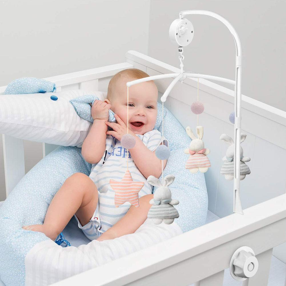 Rotating Baby Bed Bell Bracket Adjustable White Baby Crib Toy Arm Box Bed Bell Holder Music Mobile Bracket+wind-up Interact B3G5