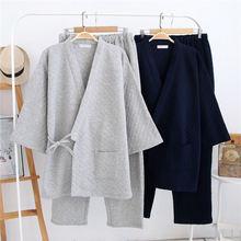 Пижама кимоно мужская хлопковая пальто в японском стиле плотная