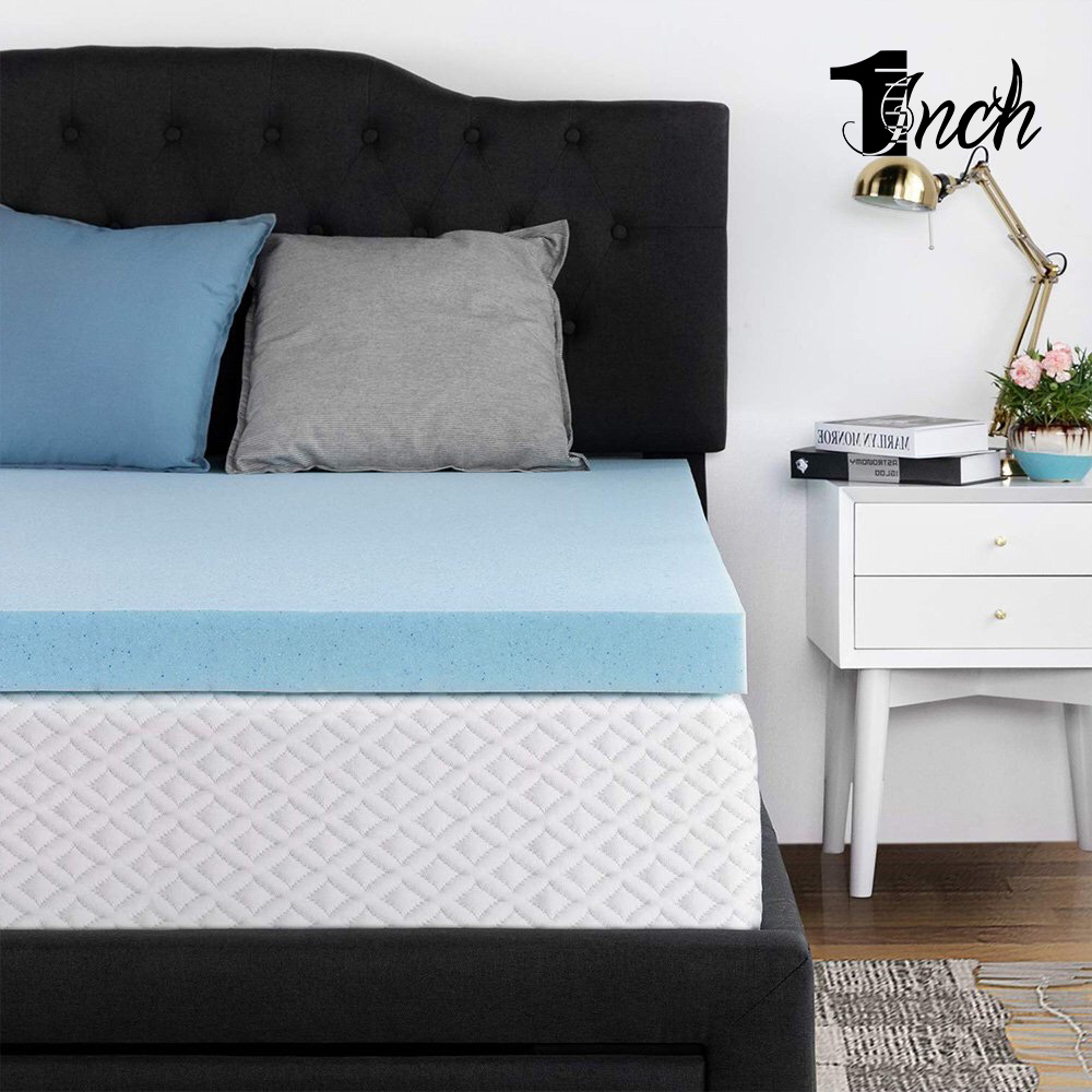 1inchome 4inch Queen/Full/Twin Size Bed Pad Topper Cool Gel-Infused Memory Foam Mattress for Hotel&Home Comfort Pad Bed Topper