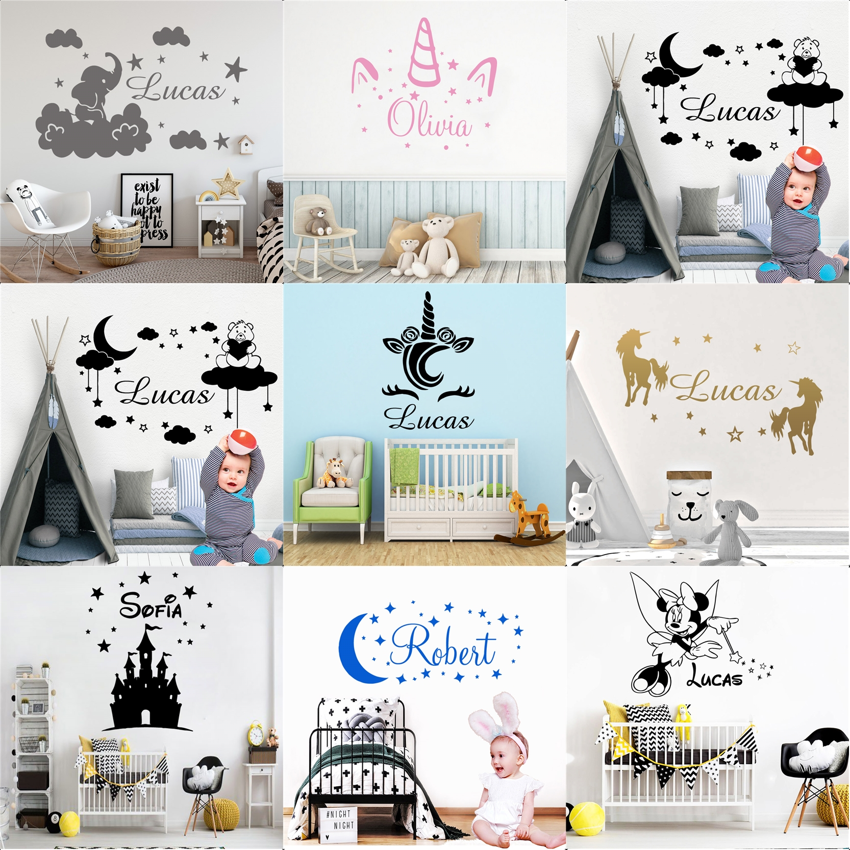 Cute Wall Stickers Mickey Custom Name Sticker Unicorn Decal For Kids Room Decor Fairy Tale Wallpaper Poster Baby Poster Mural