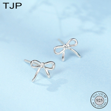 TJP S925 Tremella Nail Sweet Simple Sen Butterfly-knot Temperament Earrings Girls Small Jewelry
