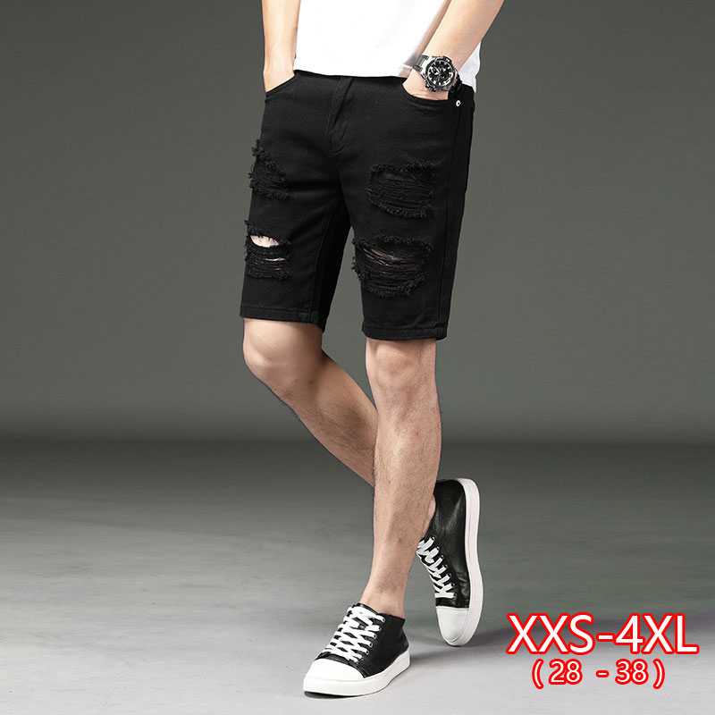 Straight Jean Short Men Summer White Ripped Loose Fashion Hip Hop Holes Male Solid Color Casual Beach Denim Shorts Mid-waist