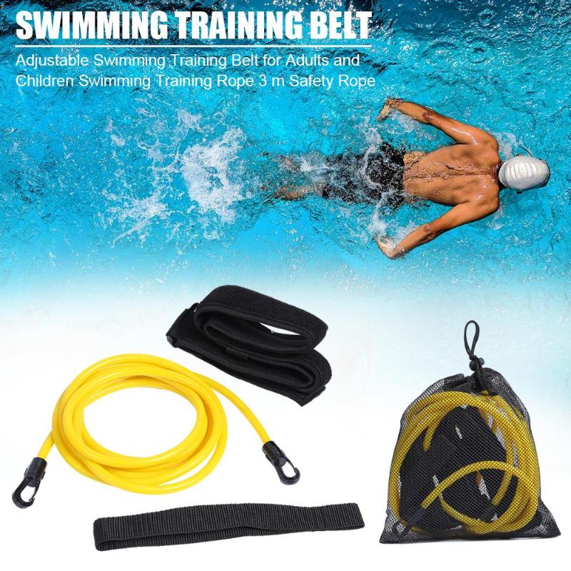 3M Adjustable Swim Training Resistance Belt Adult Kids Swimming  Exerciser Leash Mesh Pocket Safety Swimming Accessories