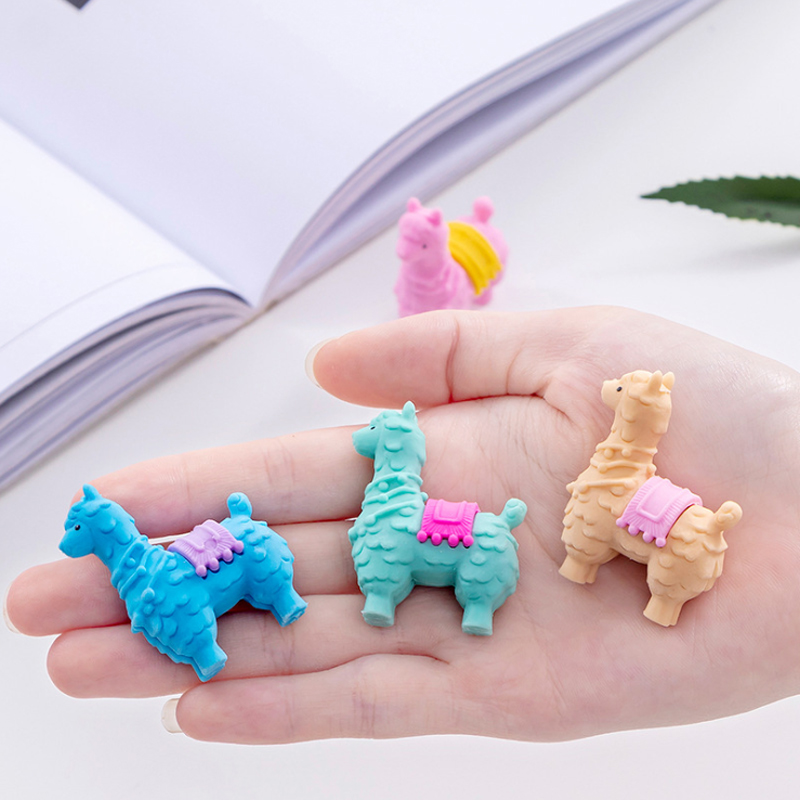 4pcs/lot Cartoon Baby Alpaca Rubber Pencil Eraser Utiles Escolares Novedosos For School Material Escolar Kawaii Papeleria Bonita