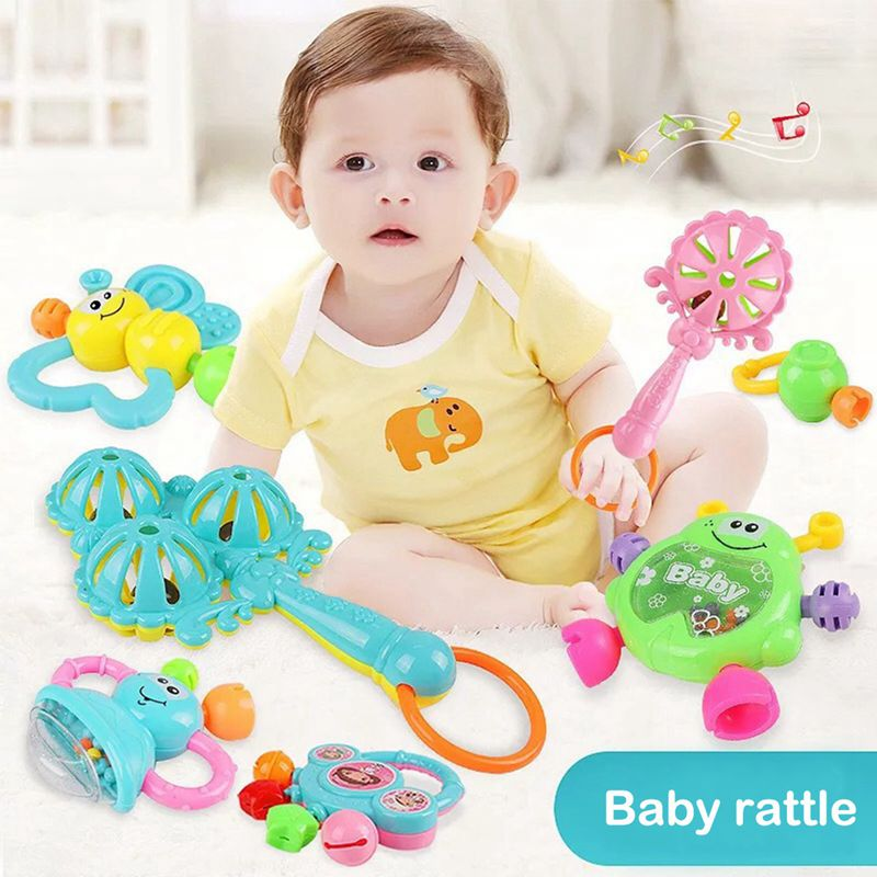 Hot-Set Of 7 Baby Teether Rattle Baby Rattle Newborn Baby 0-1 Educational Toys Rattle Suit Combination