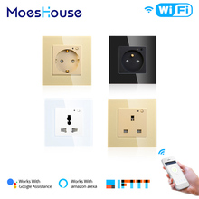 WiFi Smart Wall Socket Outlet Glass Panel Smart Life/Tuya APP Remote Control,Works with Amazon Echo Alexa Google Home EU FR UK