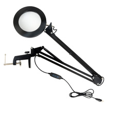 LED Desk Lamp With Clamp Hands 5X Magnifying Glass Night Light USB-Powered Dimmable Table Light With 3 Modes For Live Makeup