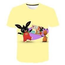 Bing crianças roupas de verão bonito dos desenhos animados coelho manga curta camiseta meninas camisa 4-14 crianças anime t bebê topos meninos camisetas