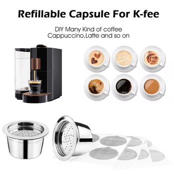 Upgrade Refillable Verismo Capsule For K-fee ALDI Expressi Refillable Coffee Capsule Pod Filters Foil Lids Aluminum Disposable image