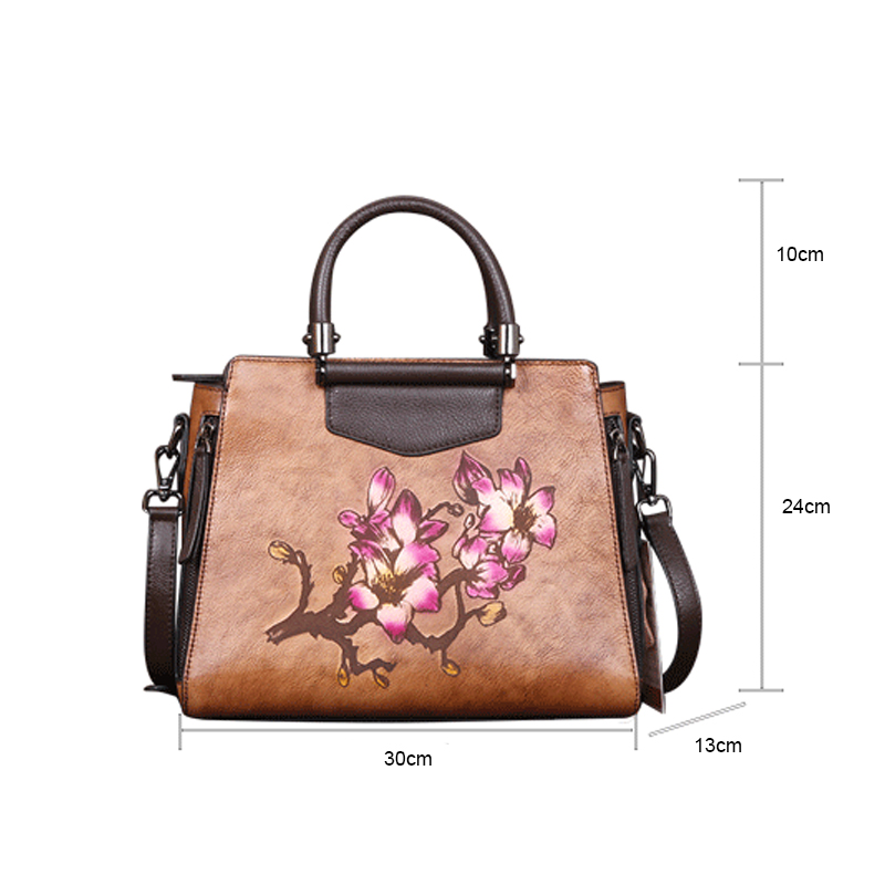 vaca feminina artesanal impresso floral bolsa elegante