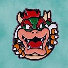 Bowser Koning Van De Koopas Super Smash Bros Emaille Pin Prinses Perzik Paddestoel Koninkrijk Grote Demon Koning Video Game Broche