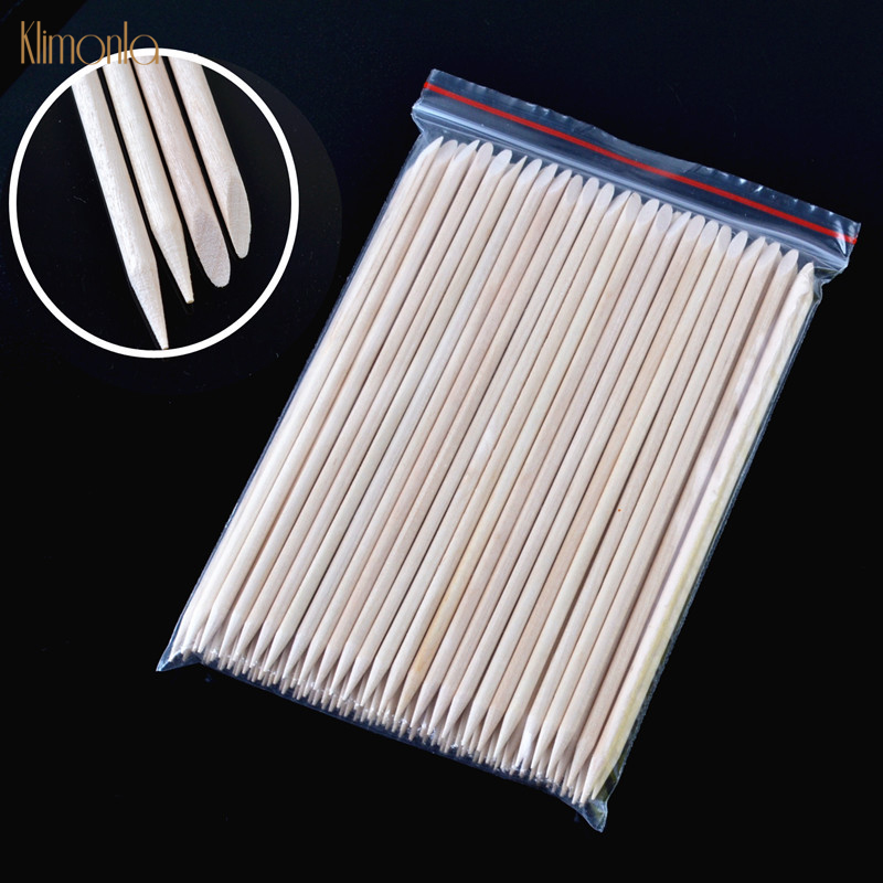 200pcs/lot Orange Nail Stick Cuticle Pusher For Nail Gel Polish Dead Skin Fork Manicure Pedicure Nail Accessories Care Tools