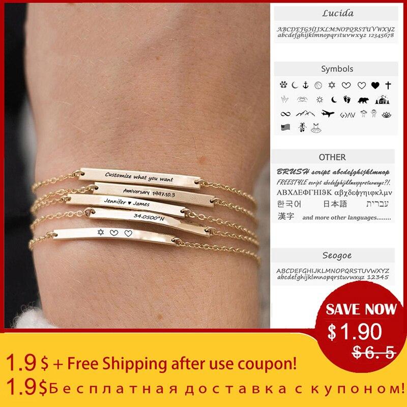 Custom Engrave Couple Bracelet for Women Men Gold Name Bracelet with Engraving Diy Stainless Steel ID Letter Symbol Name Gift