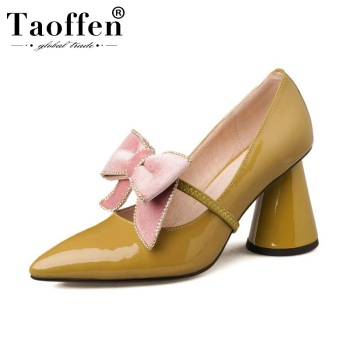 Taoffen 2020 Women Bowtie Genuine Leather Pumps Strange Heels Fashion Office Pointed Toe Spring Pumps Footwear Size 34-39
