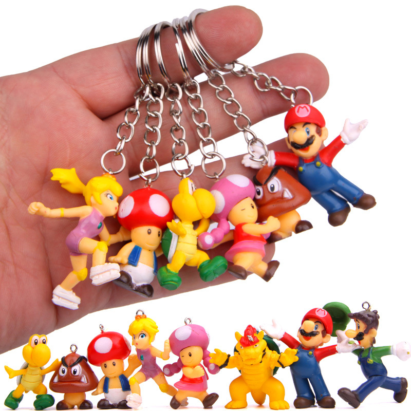 Hot-Cute-8pcs-lot-Classic-Super-Mario-Bros-Keychain-Action-Figure-Mario-Luigi-Yoshi-Peach-Goomba