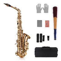 Muslady Eb Alto Saxophone Sax Brass Lacquered Gold 802 Key Type Sax Musical Instruments with Padded Carry Case Gloves