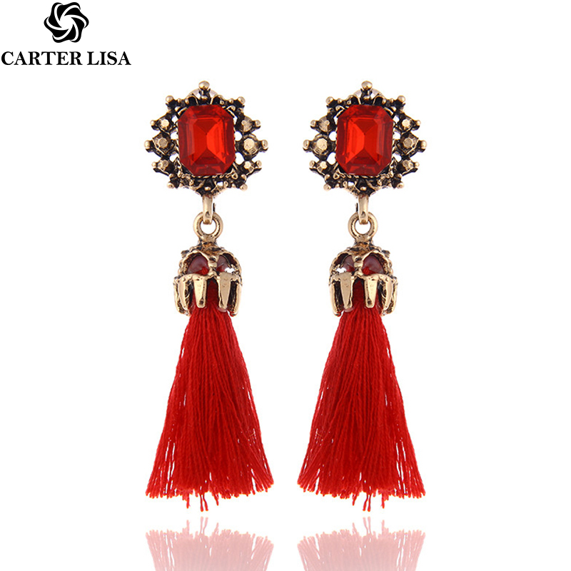 CARTER LISA 2019 Korean Fashion New Accessories Personality Long Tassel Earrings Temperament Leather Circle Earrings For Women