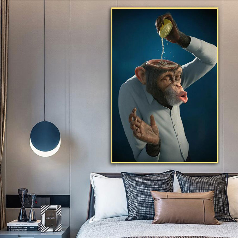 Monkey Squeeze Lemon Poster Wall Decor Prints Picture on Canvas Gorilla Animal for Scandinavian Room Home One Piece Decoration