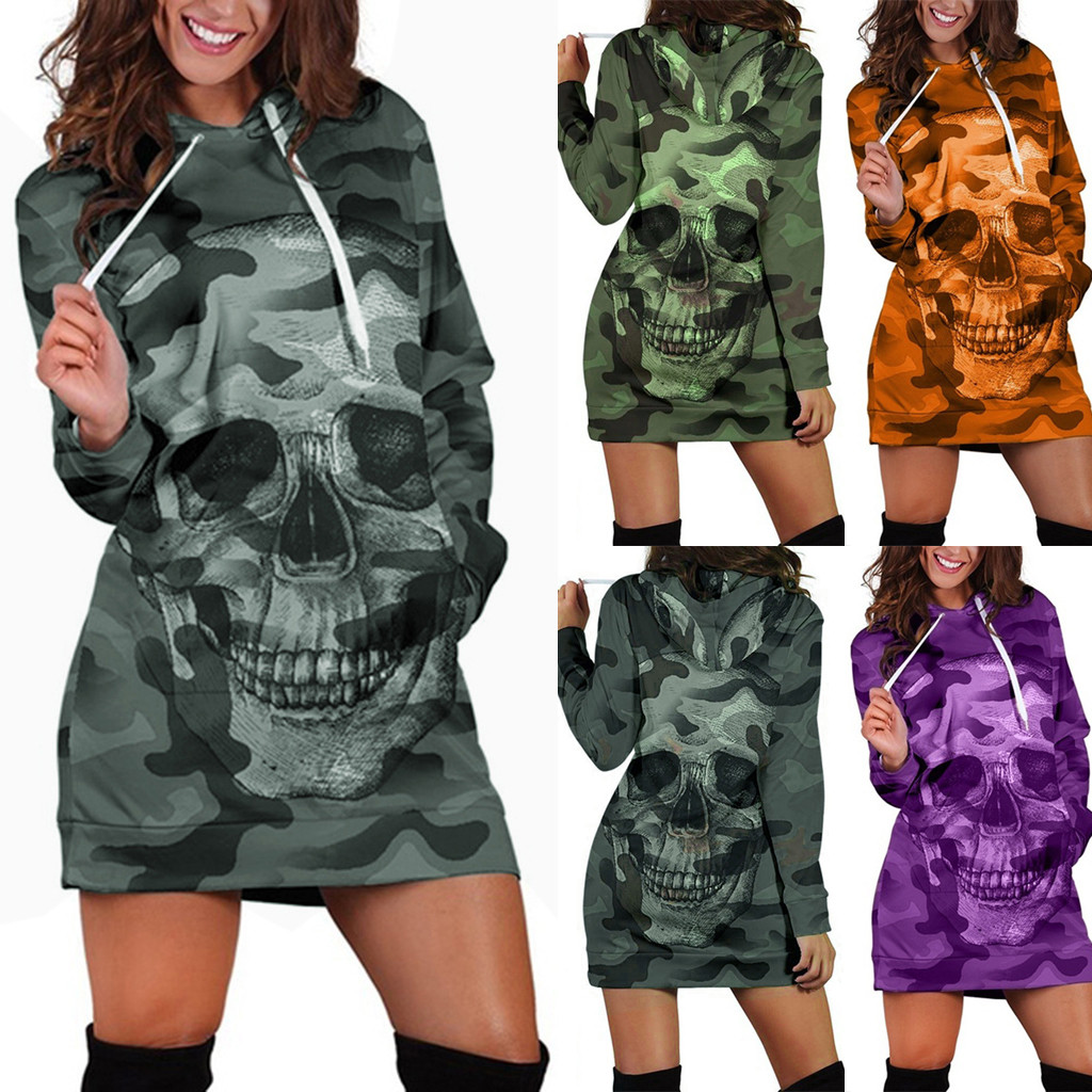 US $8.57 40% OFF|Womail Sweatshirts Winter women Casual Camouflag Skull Print Drawstring hoodies sweatshirts Fashion Long top Sweatshirt Pullover|Hoodies & Sweatshirts| |  - AliExpress