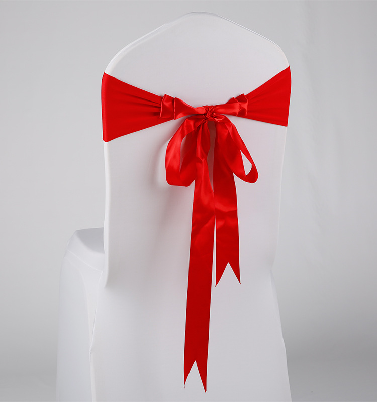 Hotel Wedding Banquet Chair Cover Bow Elasticity Hole Series Decoration Chairback Cover|  - title=