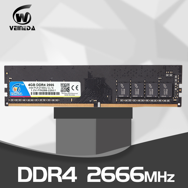 VEINEDA Ddr4  4 Gb 8gb 16gb PC Computer RAM  4GB Memory DDR 4 PC4 2133 2400 2666Mhz Desktop Motherboard Memoria 284-pin