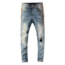 2020 New Streetwear Men Jeans Retro Blue Slim Fit Destroyed