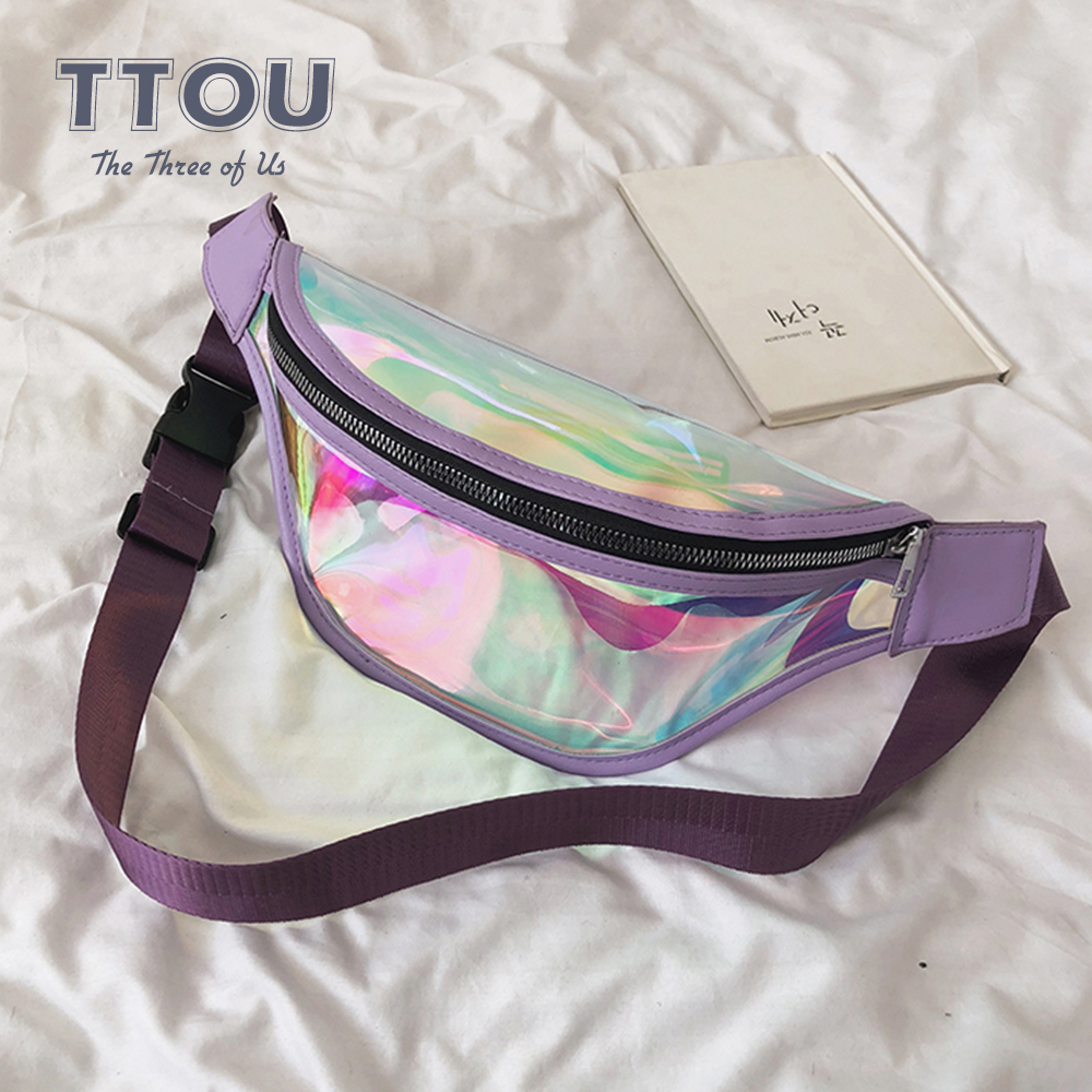 TTOU Fashion Transparent Waist Bag Women Laser Waterproof Luxury Punk Holographic Fanny Pack Leisure Waist Pack For Girls