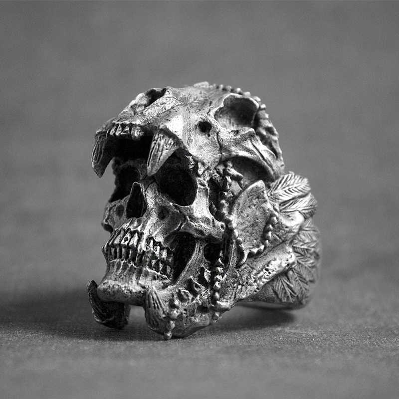 Retro Punk Skeleton Skull Rings For Men Women Gothic Halloween Accessories Gifts Personality Male Biker Rock Rap Ring Jewelry