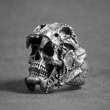 Retro punk esqueleto crânio anéis para homens mulheres gótico halloween acessórios presentes personalidade masculino biker rock rap anel jóias