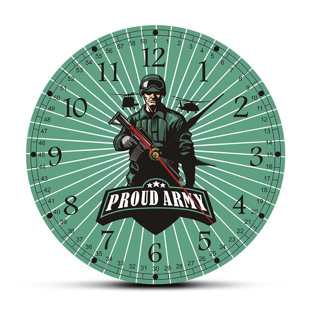 Army Combat Solider With Rifle Decorative Man Cave Wall Clock Proud Army Ready For War Military Weapon Wall Decor Wall Watch
