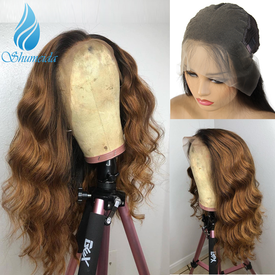SHD 13*6 Ombre Brown Lace Front Human Hair Wigs With Pre Plucked Body Wave Brazilian Remy Hair Glueless Lace Wig Baby Hair