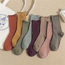 Invierno nueva moda calcetines japoneses Vintage mujeres tobillo pila calcetines sueltos boca rizo borde puro Color Joker mujer Sox cómodo