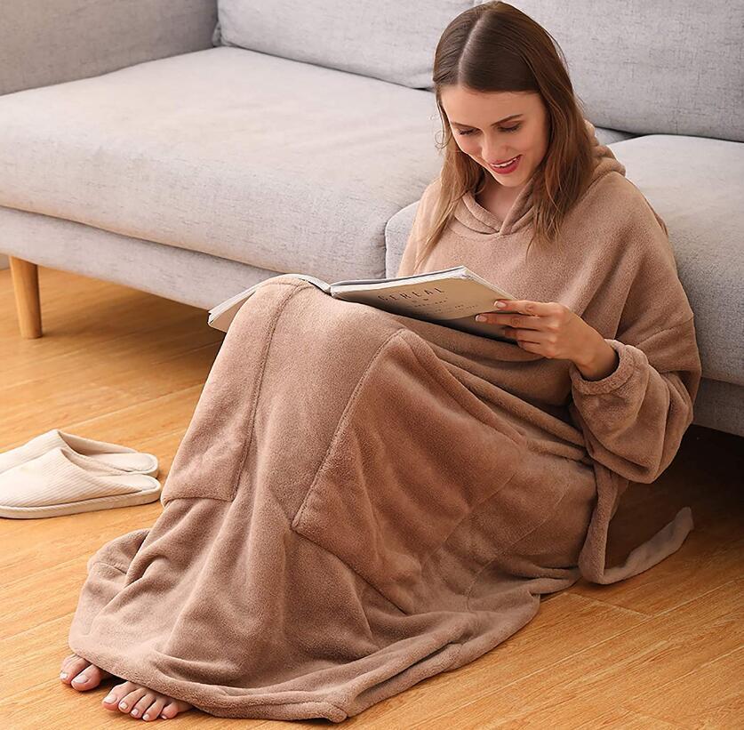 Длинная толстовка с капюшоном, женское пригодное для носки одеяло для телевизора с рукавом, толстовка большого размера с капюшоном, флисовы...