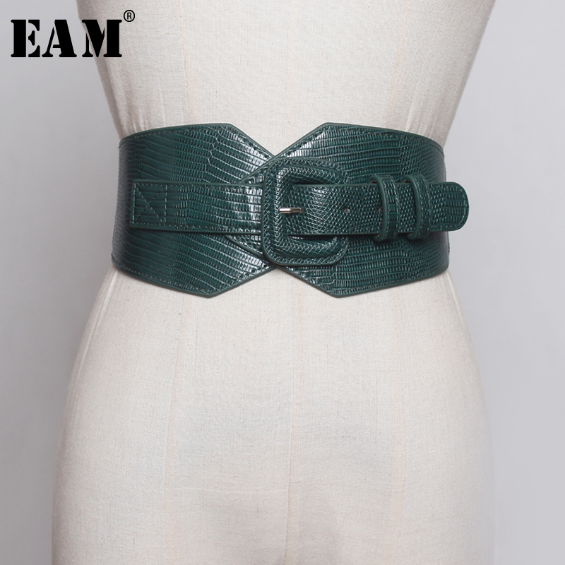 [EAM]  Black Split Joint Brief Pu Leather Wide Belt Personality Women New Fashion Tide All-match Spring Autumn 2020 1B370