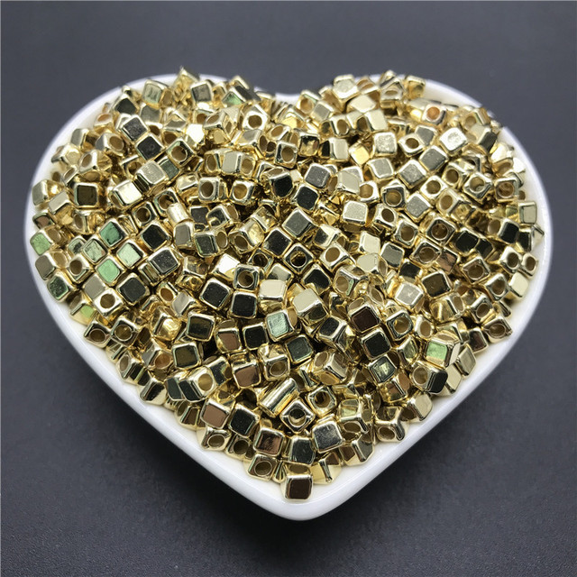 200pcs 4mm Acrylic Plated CCB Square Loose Beads for Jewelry DIY Bracelet Necklace