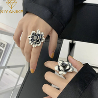 XIYANIKE-Anillo de flor de Plata de Ley 925 para mujer, joyería de estilo Retro Punk, regalo de fiesta, joyería