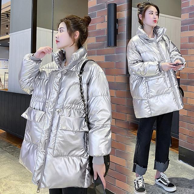 2021 New Winter women parkas fashion shiny fabric thicken windproof warm jackets coat outwear snow wear jacket S-XL 2