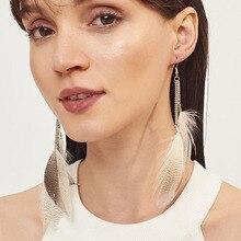 Feather-shape Drop Earrings for Women Fashion Bohemian Fringed Long Earrings Metal Ear Hook Ladies Jewelry Accessories bohemian feather fake gem hook earrings