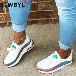 Women Sneaker Vulcanize Air Mesh Platform Mix Color Patchwork Flat Heel Thick Sole Lace Up Female Ladies Shoes Breathable Summer