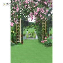 Laeacco Green Garden Floral Arch Gate Photography Backgrounds Vinyl Customizable Backdrops Props For Photo Studio