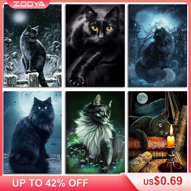Zooya 5D DIY Kim Cương Thêu Đêm Rừng Mặt Trăng Đen Mèo Tranh Gắn Đá Chéo Nữ Thời Trang Full Khoan Khảm Trang Trí BK449