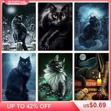 Zooya 5D diy ダイヤモンド刺繍ナイト森林ムーン黒猫のダイヤモンド塗装ドリルモザイク装飾 BK449