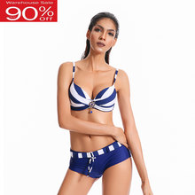 2020 Plus Size Vrouwen Badmode Sexy Bikini Push Up Padded Badpak Bottom Shorts Zwemmen Strepen Badpak Cool Beachwear(China)